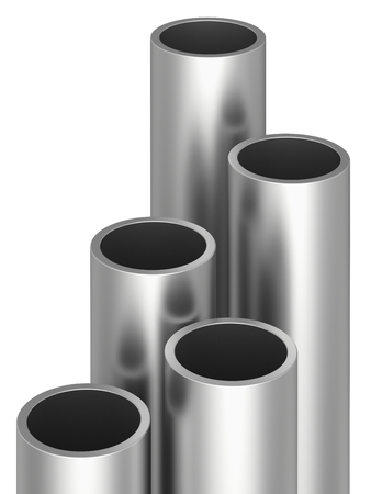 raw materials: Metal pipes on warehouse. 3d rendering illustration