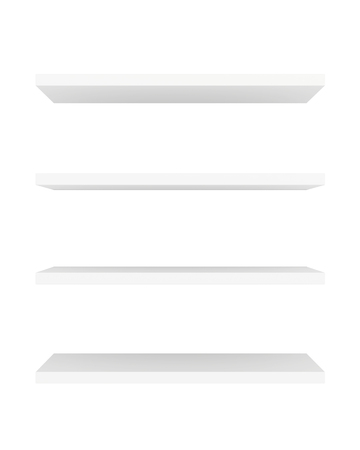 displays: Blank showcase displays shelves front view isolated on white background. 3D rendering Stock Photo