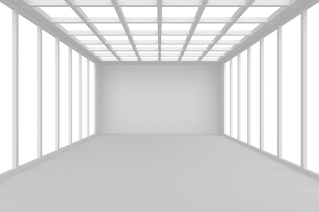 without window: Abstract architecture white room interior with walls and ceiling from window, without any textures, 3d rendering. Stock Photo