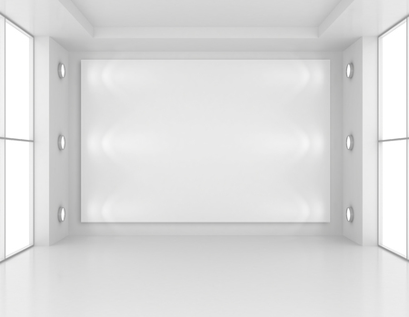 art museum: Gallery Interior with empty frame on wall and lights. 3d rendering.