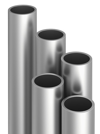 raw materials: Metal pipes on warehouse. 3d rendering illustration.