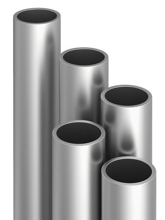 commodities: Tubos de metal en el almacén. Ilustración de la representación 3d. Foto de archivo