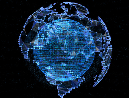 ball point: Digital planet telecommunications networks of global internet.