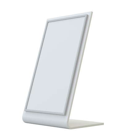 offset up: Blank holder. Clear brochure holding. Empty paper template. 3d rendering isolated on white background