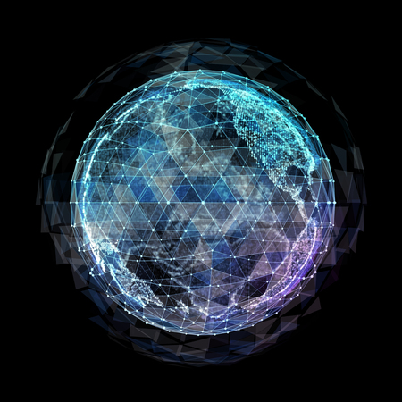 abstract technology background with global communication orbits and high detailed globe