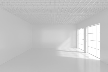High resolution white room with window. 3d rendering. Stock Photo