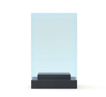 boutique display: Empty Glass Showcase. Illustration on White Background.