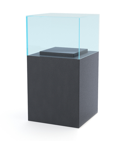 boutique display: 3D rendering. Empty Glass Showcase for Presentation. mockup template for design