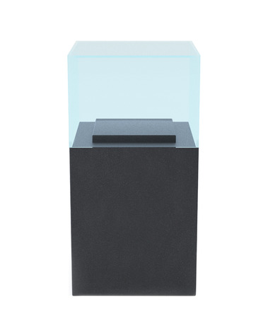 market place: Empty glass showcase for museum exhibition on white background. Mockup object in form box, 3d rendering