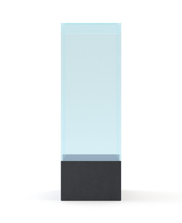 boutique display: Empty glass showcase for museum exhibition on white background. Mockup object in form box, 3d rendering