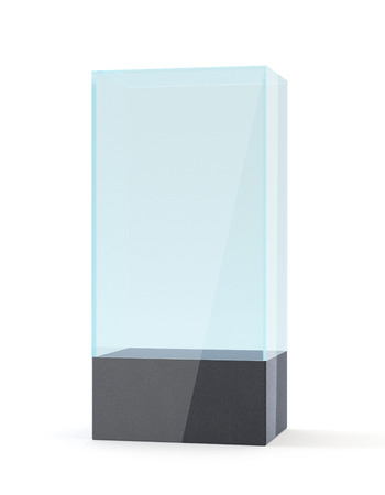 market place: 3D rendering. Empty Glass Showcase for Presentation. mockup template for design
