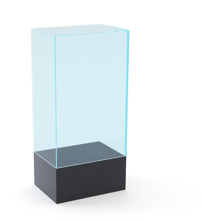 boutique display: Empty Glass Showcase. 3D rendering on white background. Stock Photo