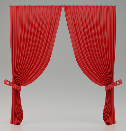 classic red curtains with glossy shine. 3d rendering Stock Photo