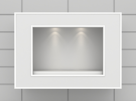 boutique display: Empty illumination light showcase. Mock up. 3d rendering Stock Photo