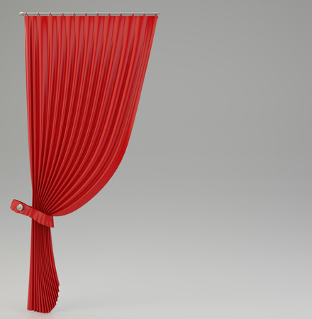 classical theater: classic red curtains with glossy shine. 3d rendering Stock Photo