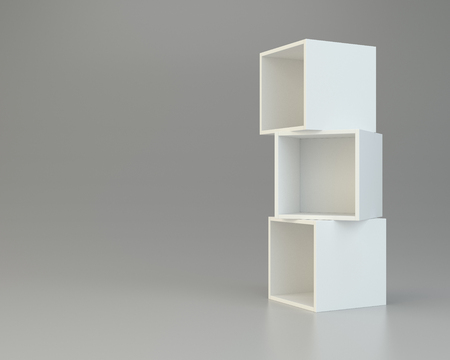 market place: box shelves white. 3d rendering on gray background. Stock Photo