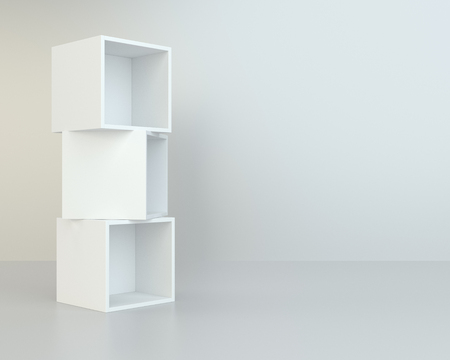 market place: White box shelves. 3d rendering on background room wall and floor reflection.