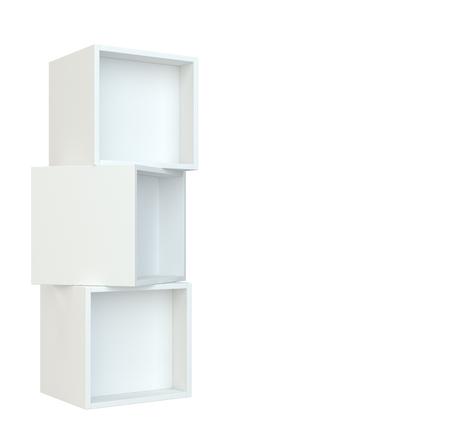 furniture store: White box shelves. 3d rendering on white background.