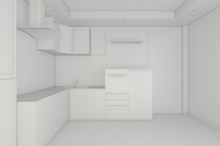 glossiness: White kitchen. Glossiness interior 3D illustration. 3d rendering Stock Photo
