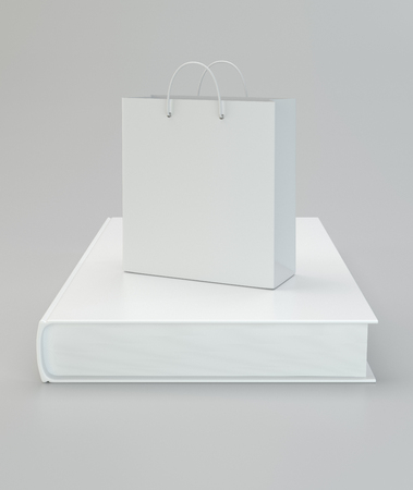literature: Paper bag with a book on a gray background. 3d rendering.