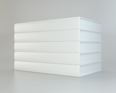 notebook: white stack realistic of books on gray background. 3d rendering. Stock Photo