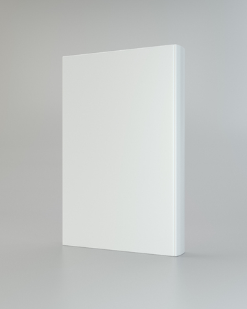 literature: Front view of blank book cover white. 3d rendering.