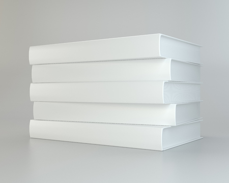 literature: Stack realistic of books on gray background. 3d rendering