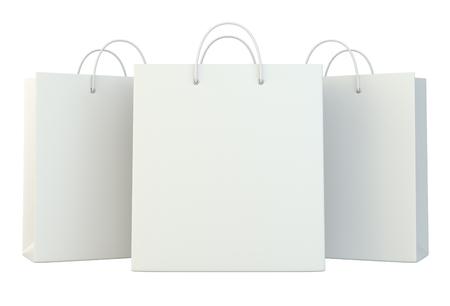 blank white shopping paper bags set. 3d rendering isolated on white background