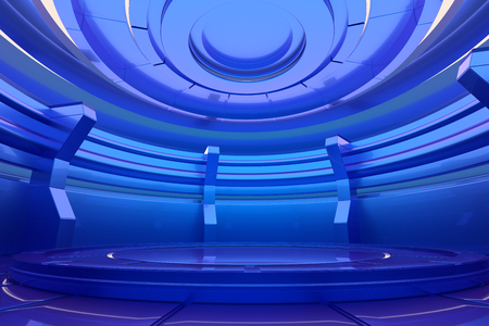 Futuristic empty stage. Glossy interior concept. 3d rendering