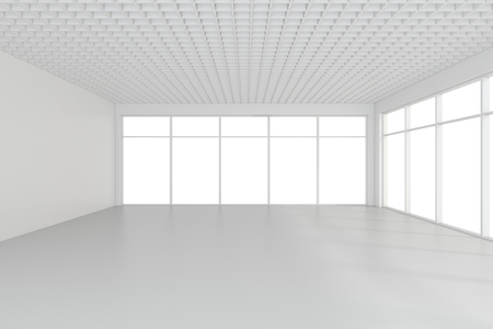 apartment: Bright white room with windows. 3d rendering