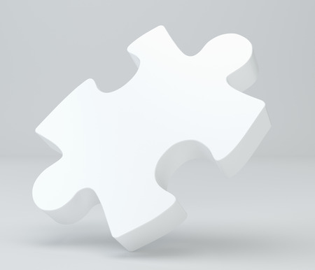 missing link: White puzzle with soft shadows. 3d rendering