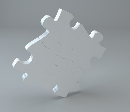 missing link: Studio 3d rendering of puzzles on a gray background. Stock Photo