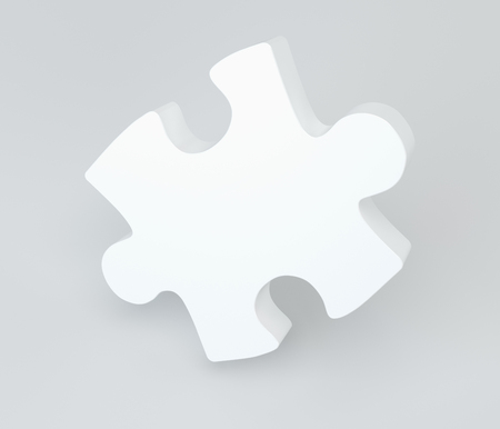 missing link: White puzzle with soft shadows. 3d rendering.