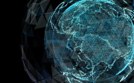 デジタルの世界。コンピュータ グラフィックスを作った。技術の世界のイラスト。3 d イラストレーション 写真素材