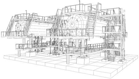Petróleo y gas industrial ilustración vectorial equipo.