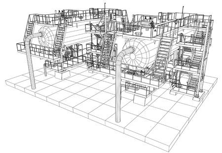 Oil and Gas industrial equipment vector illustration. Illustration