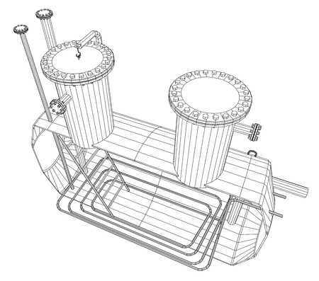 heated: Heated barrel. Industrial tank. EPS10 format. Vector created of 3d