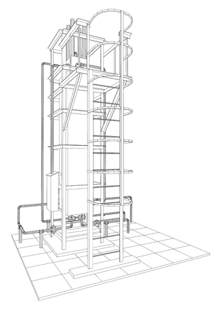 steel industry: Petroleum gas installation. Tracing illustration of 3d