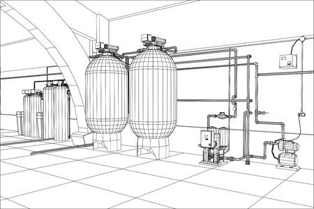 Estación de purificación de agua. Equipo industrial. Ilustración de seguimiento de 3d. Foto de archivo - 83613983