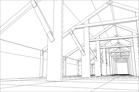 office building: Industrial building constructions indoor. Tracing illustration of 3d.