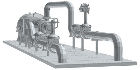 Industrial equipment pump. Wire-frame, 3d rendering