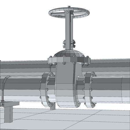 fitting: Industrial equipment valve. Wire-frame, 3d rendering Illustration