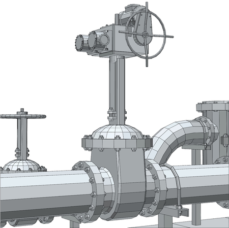 fitting: Industrial equipment electric valve. Wire-frame, 3d rendering