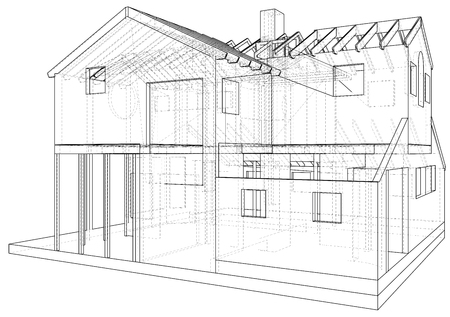 Vector sketch house on the white background. EPS 10. Vector created of 3d. Illustration