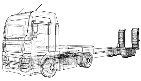 3D Tracing illustration of Low Bed  truck, Linear style.