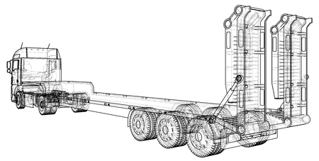 3D Tracing illustration of low bed trailer truck, Linear style.