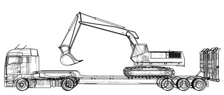 3D 추적 낮은 침대 트레일러 트럭 및 excavator, 선형 스타일 그림.