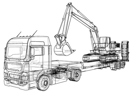 3D Tracing illustration of low bed trailer truck and excavator, Linear style. Çizim