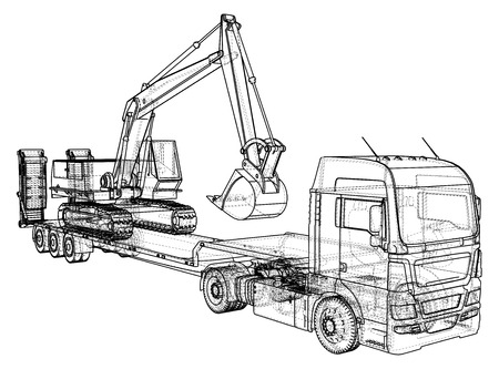 excavation: Low bed Truck Trailer and excavator. Wire-frame. EPS10 format. Vector created of 3d.