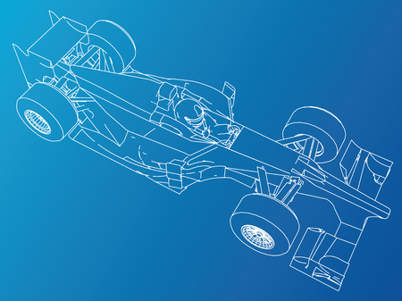 Formula race car. Abstract drawing. Tracing illustration of 3d. Illustration